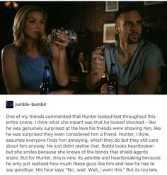 The Parting shot: Adrianne Paliki (Bobbi) and Nick Blood (Hunter) did not know about this until they shot it, so this scene was actually their real reactions to leaving the show. That just makes it ten times sadder. :(