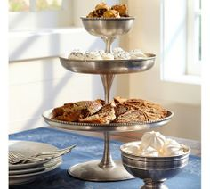 pottery barn Antique-Silver Tiered Stand $129.00 Tiered Stand