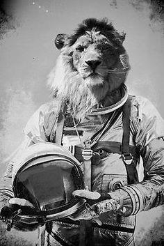 Lion Astronaut, collage art, pop art, black and white