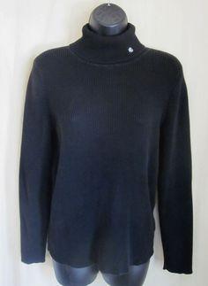 LAUREN Ralph Lauren Women's Black Long Sleeve Ribbed Turtleneck Sweater L Large  #LaurenRalphLauren #TurtleneckMock