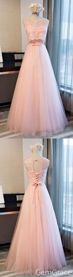 Pink long tulle a-line prom dress