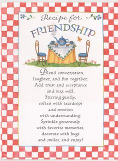 Recipe On Friendship Quotes, Quotations & Sayings 2018