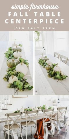 Simple Farmhouse Fall Table Centerpiece #thanksgivingtable #falltable #tablecenterpiece #falltablecenterpiece #farmhousefall #fallfarmhouse #falldecor #farmhousefalldecor #pumpkindecor #pumpkincenterpiece #fallwedding #fallweddingcenterpieces Thanksgiving Table Settings, Thanksgiving Crafts, Thanksgiving Decorations, Types Of Pumpkins, Fall Table Centerpieces, Farmhouse Style Decorating, Farmhouse Decor, White Pumpkins, Fall Diy