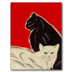 What would life be without a cat or two? Postcard Black & white Cats on Red Art Deco Style