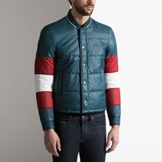 Bally Qulited tri-colour jacket Qulited tri-colour jacket in Dark Teal (2,835 PEN) ❤ liked on Polyvore featuring men's fashion, men's clothing, men's outerwear, men's jackets, mens quilted jacket, mens dark denim jacket, mens sports jacket and mens sport jackets