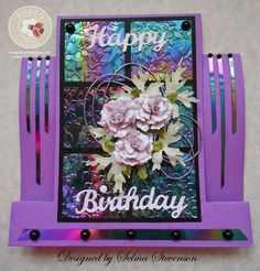 Selma's Stamping Corner and Floral Designs: Step Card with Shimmer Sheetz Grid and Mini Roses