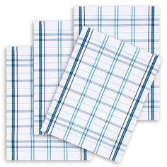 4er-Set Geschirrtuch, 100% Baumwolle, Kracht, kariert blau, 50x67cm