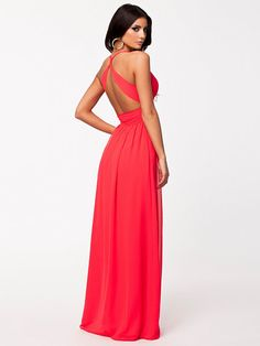 Empire Maxi Dress - Nly Eve - Coral - Party Dresses - Clothing - Women - Nelly.com