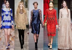 Lace - Top Fashion Styles, Themes, Prints, Materials and Textiles Fall 2014 Winter 2015 Photo: Trend Council #DORLYDESIGNS: Fashion Forecast: Rock The Look To Roll In Style Fall 2014