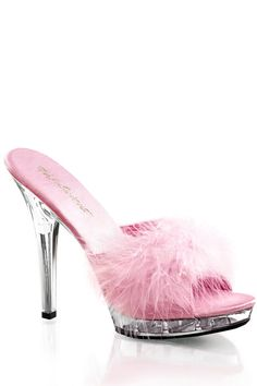 Strap vamp with marabou faux fur, peep toe, slip on design, and clear platform and heels. 5 inch heels and 3/4 inch platforms.