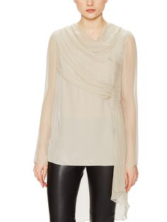 Silk Chiffon Draped Blouse by Vera Wang at Gilt