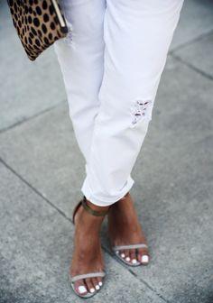 white pedicure/tan feet