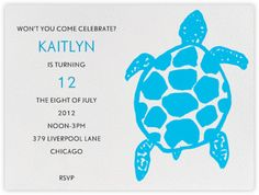 virginia johnson for paperless post Turtle Birthday Parties, Turtle Party, 40th Birthday, First Birthday Parties, First Birthdays, Birthday Invitations Kids, Party Invitations, Invite, Virginia Johnson