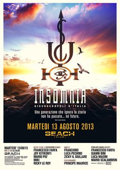 """Flyers and posters design for """"historycal"""" club INSOMNIA event at Beach Versilia."""