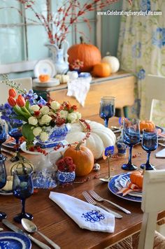 Blue & white mixed with orange for fall