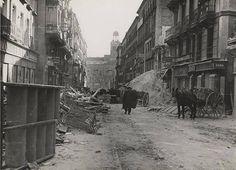 Spain - 1936. - GC - Ministerio de Cultura Las bombas dejaron algunas zonas de Madrid totalmente destrozadas. En la imagen, la calle Preciados. Madrid, durante la Guerra Civil
