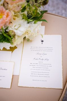 Navy Writing and Gold Edging for Invitation Suite // Neutral Rustic Glam Wedding Decor with Bright Floral Accents // Lowndes Grove Charleston SC Wedding // Dana Cubbage Weddings // Charleston SC + Destination Wedding Photographer