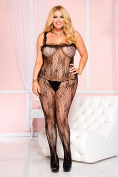 ML1969Q - Bodystocking Plus size butterfly detail lace crotchless bodystocking. SIZE: O/S QUEEN COLOR: BLACK ** To order: phone w/mjr cr cd 519.371.1215 or 50% order deposit in the store. 274 8th Street E. Owen Sound, ON