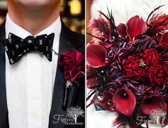 Skull bow tie and spider wedding boutineer & goth glam red wedding bouquet