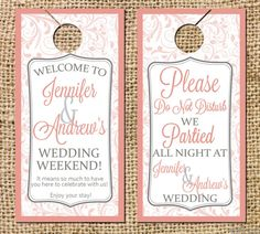 Do Not Disturb Wedding Door Hangers