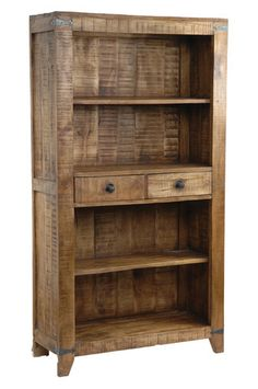 This Bengal Manor Mango Wood Bookcase is built to last. It has a warm finish and is constructed of solid mango wood. Rustic Bookcase, Wood Bookshelves, Rustic Shelves, Wood Shelves, Glass Shelves, Diy Pallet Furniture, Solid Wood Furniture, Rustic Furniture, Cheap Furniture