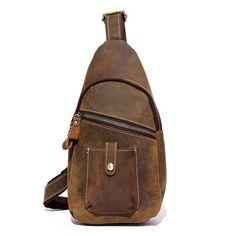 e6ec1a192e Ekphero Genuine Leather Chest Bag Casual Vintage First Layer Leather  Shoulder Crossbody Bag For Men
