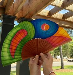 Handfan hand painted with watercolors.Cotton and wood, a unique beautiful accessory. One of a kind, just for you !!! by MonBrise on Etsy
