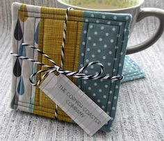 Set of 4 Quilted Coasters - Retro Style Mug Mats - Patchwork Coasters £12.00