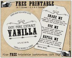 Homemade Vanilla Labels Printable & Tags Free Homemade Vanilla Label - Plus, How to Make Homemade Vanilla - Recipe & Full Photo Tutorial Vanilla Extract Recipe, Vanilla Recipes, Vanilla Flavoring, Cowboy Party Favors, Party Favor Tags, Jar Gifts, Food Gifts, Gift Jars, Candy Gifts