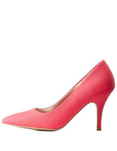 Pointed Toe Python-Textured Pumps: Charlotte Russe