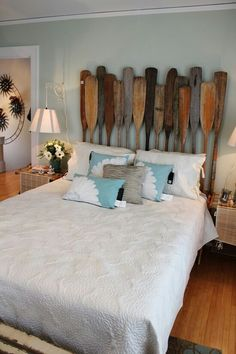 Itsy Bits and Pieces: nautical theme room. paddles for a headboard. I like the color! Bedroom Themes, Bedroom Decor, Bedrooms, Bedroom Ideas, Home Interior, Interior Design, Headboard Decor, Headboards, Beach Room