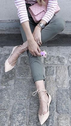 You know those black lace-up flats every blogger loves? They come in taupe too!
