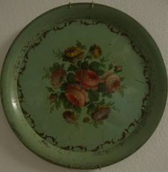 Antique tole tray in green