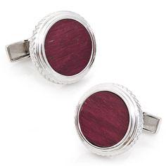 Sterling Opus Purpleheart Wood Cufflinks