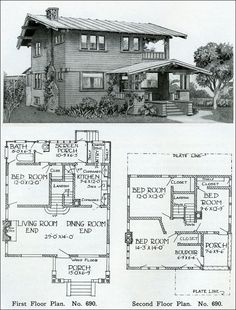 Two story - 1910 - Simple Swiss Chalet - Henry Wilson - The Bungalow Book 4 bed 1 bath floor plan Sims House Plans, Small House Plans, House Floor Plans, Modern House Plans, Craftsman Style Homes, Craftsman Bungalows, Craftsman Kitchen, Swiss House, Vintage House Plans