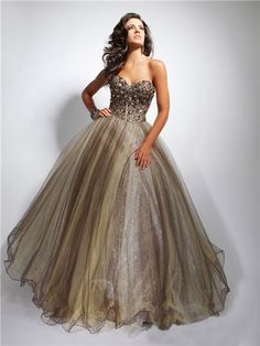 chocolate evening gowns | Home » Ball Gown Sweetheart Long Chocolate Brown Tulle Evening Prom ...