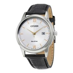 Citizen Eco-Drive Silver Dial Black Leather Mens Watch AW1236-03A #Citizen