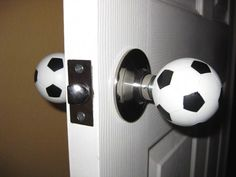Soccer balls - what! Although I'd want a normal looking one on the hallway side. Soccer balls - w Soccer Room Decor, Soccer Theme, Soccer Boys, Boys Soccer Bedroom, Soccer Stuff, Bedroom Boys, Nike Soccer, Soccer Cleats, Football Rooms
