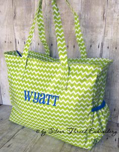 Personalized Diaper Bag Chevron Lime Green Blue by parsik93, $39.99 @BabyList Baby Registry Baby Registry Baby Registry