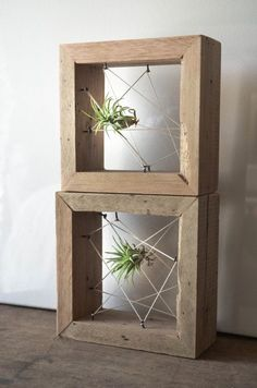 Rustic Reclaimed Recycled salvaged wood AIR PLANT holders. Vase, wall decor, geometric design, terrarium on Etsy, $30.00