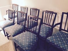 8-Hepplewhite-style-dining-chairs-with-blue-Napoleon-bee-upholstery-w-piping