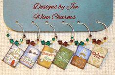 Christmas Wine Charms Swarovski Crystal Set of 6 by DesignsByJen1,