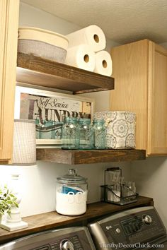 DIY Wood Shelving (Laundry Storage) How to build floating shelves in the laundry room Laundry Room Remodel, Laundry Room Organization, Laundry Storage, Laundry Room Design, Diy Storage, Storage Shelves, Storage Ideas, Laundry Rooms, Laundry Shelves
