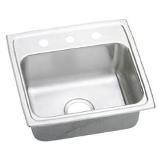 Elkay LRAD191860R Gourmet 19 Single Basin Drop In Stainless Steel Kitchen Sink (4 faucet holes (centered)) 4 faucet holes (centered)