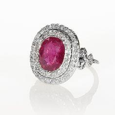 English Platinum Burmese Ruby and Diamond Ring, Circa 1905.