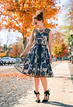 Floral print dress - bow heels - perfect for the holidays!