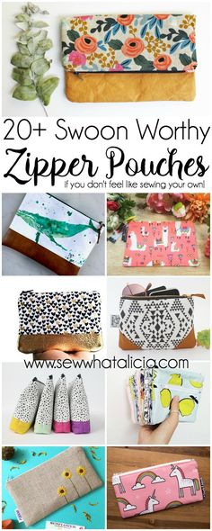 20+ Swoon Worthy Zipper Pouches (for when you don't want to sew your own!) : I love a zipper pouch! If you don't want to sew your own then Etsy is the place to get that handmade feel! Click through for a fun collection of swoon worthy zipper pouches from Etsy!   www.sewwhatalicia.com