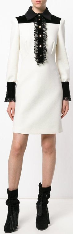 Lace Trimmed Long-Sleeve Dress, White