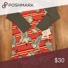 XS Lularoe Americana Randy Shirt Super soft and stretchy. Perfect length for leggings or jeans. LuLaRoe Tops