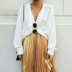 Gold pleated.